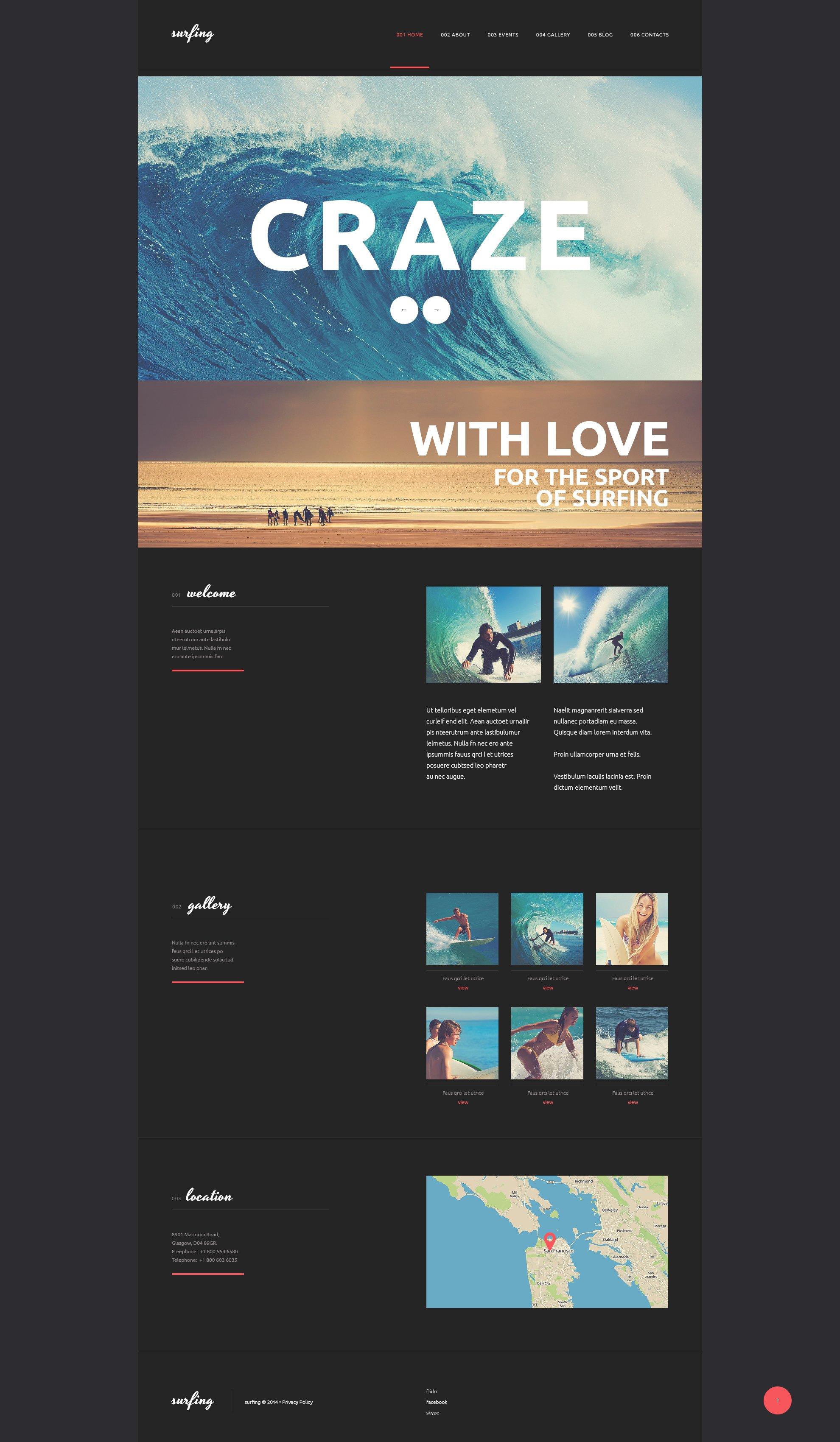 """Surfing Club"" thème WordPress adaptatif #50812 - screenshot"