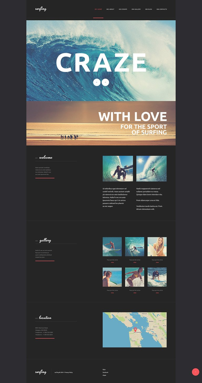 Surfing Club WordPress Theme New Screenshots BIG