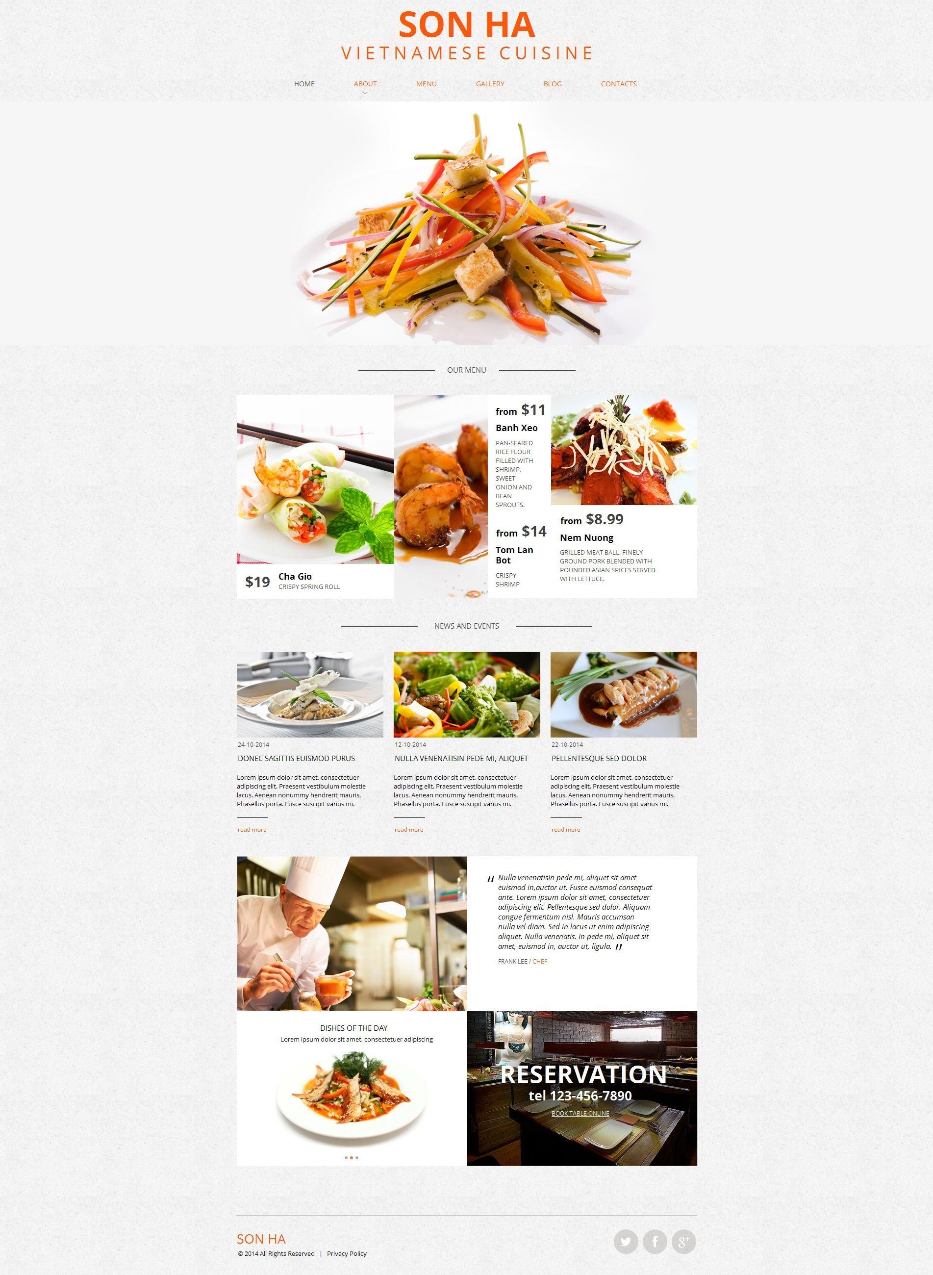 Tema Moto CMS HTML #50829 per Un Sito di Ristorante Vietnamita