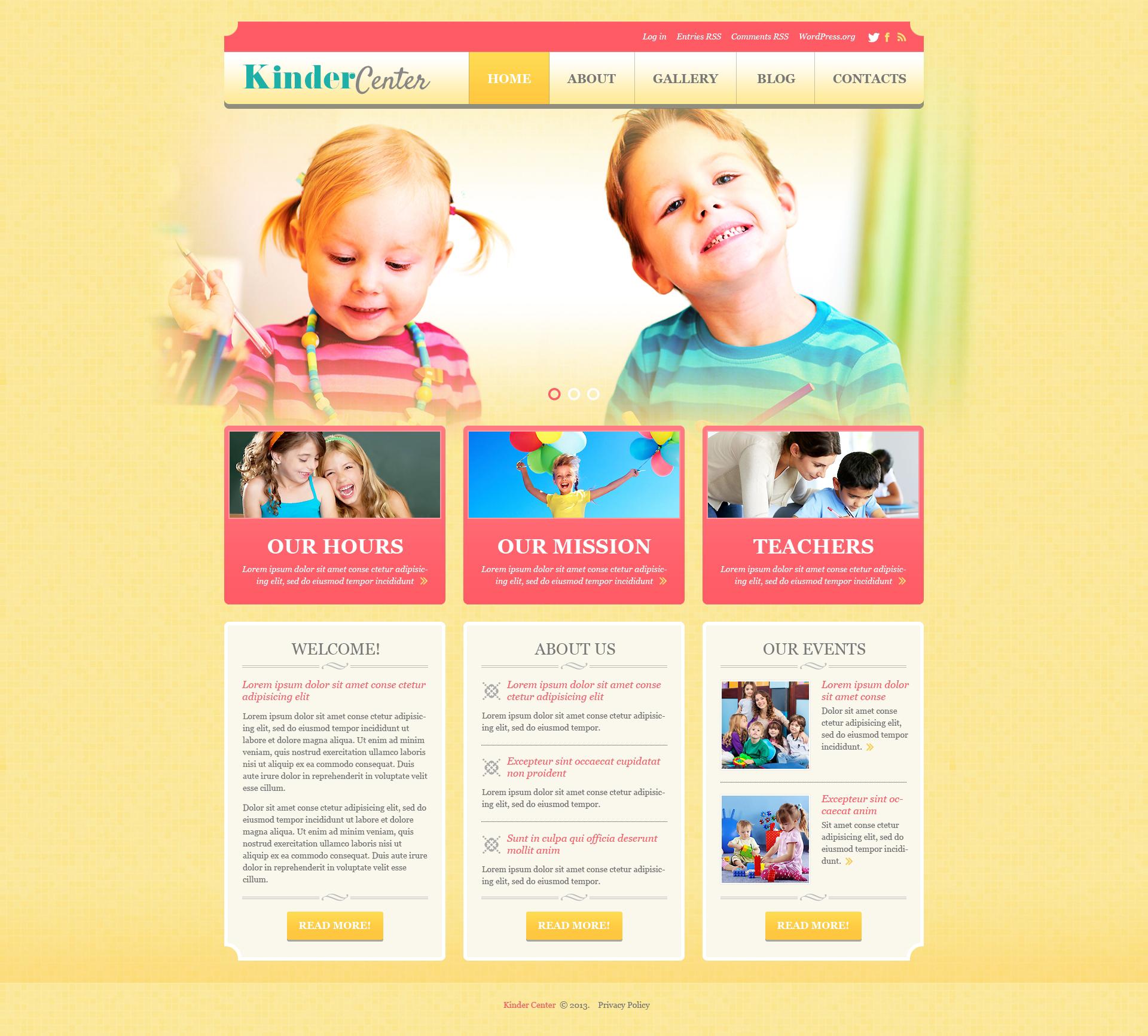 Template WordPress Responsive #50878 per Un Sito di Day Care - screenshot
