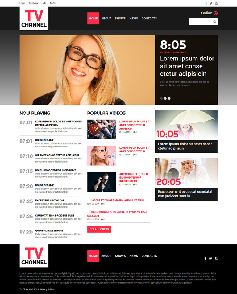 TV Channel Joomla Template New Screenshots BIG