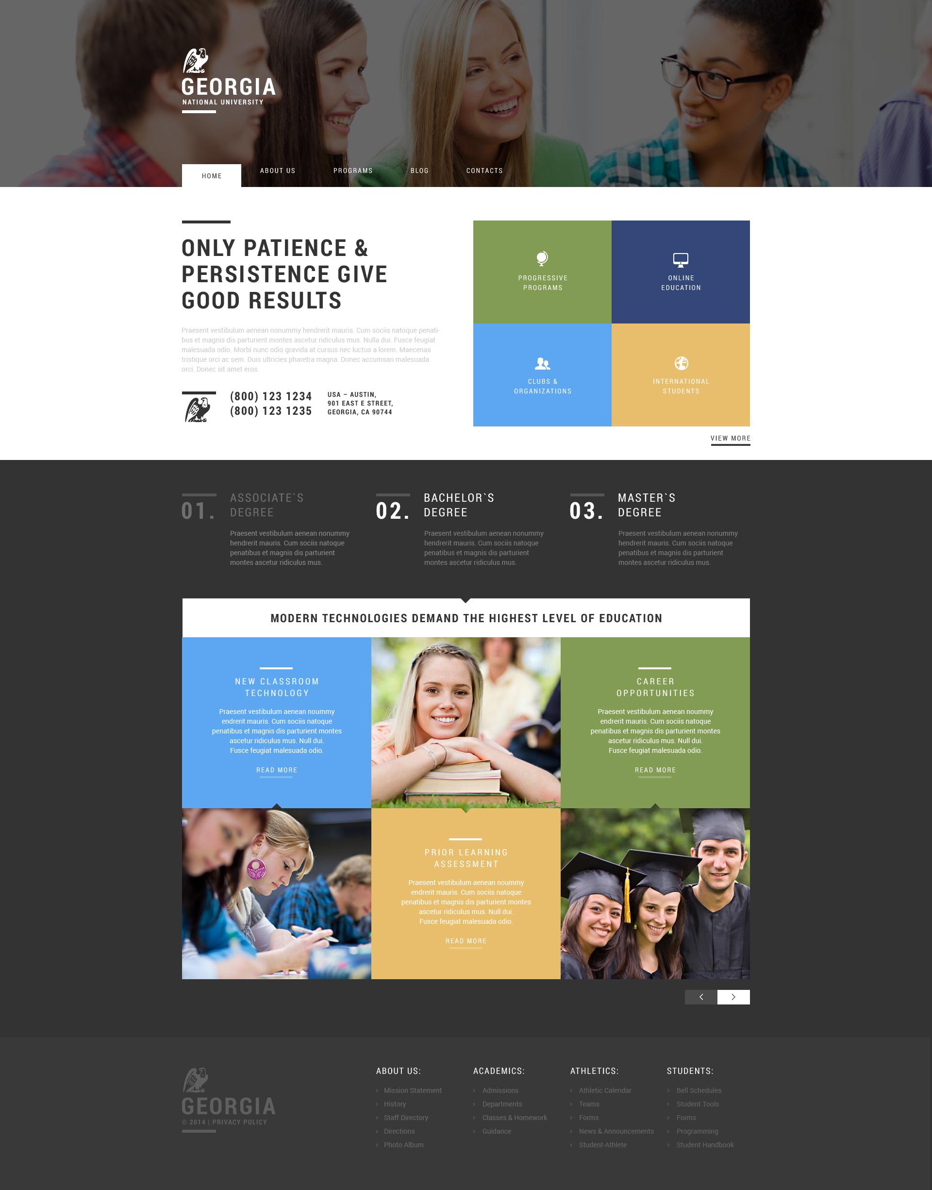 """""""University"""" - адаптивний WordPress шаблон №50861 - скріншот"""