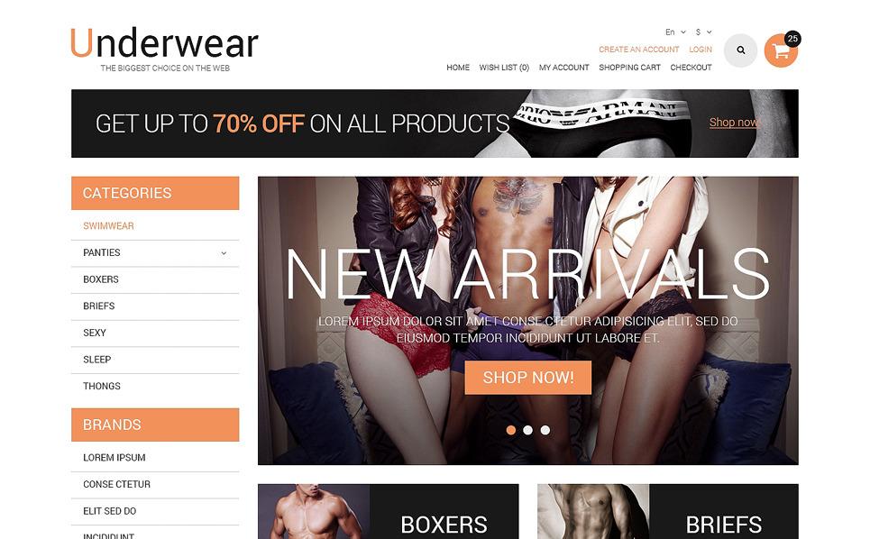 Responzivní OpenCart šablona na téma Spodní prádlo New Screenshots BIG