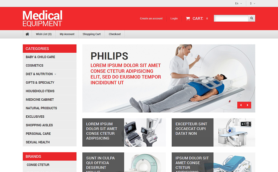 Reszponzív Orvosi felszerelések OpenCart sablon New Screenshots BIG