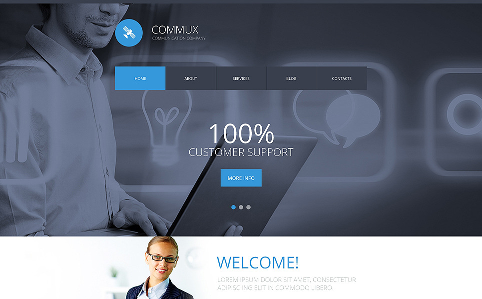 Modello Siti Web Responsive #50990 per Un Sito di Comunicazioni New Screenshots BIG