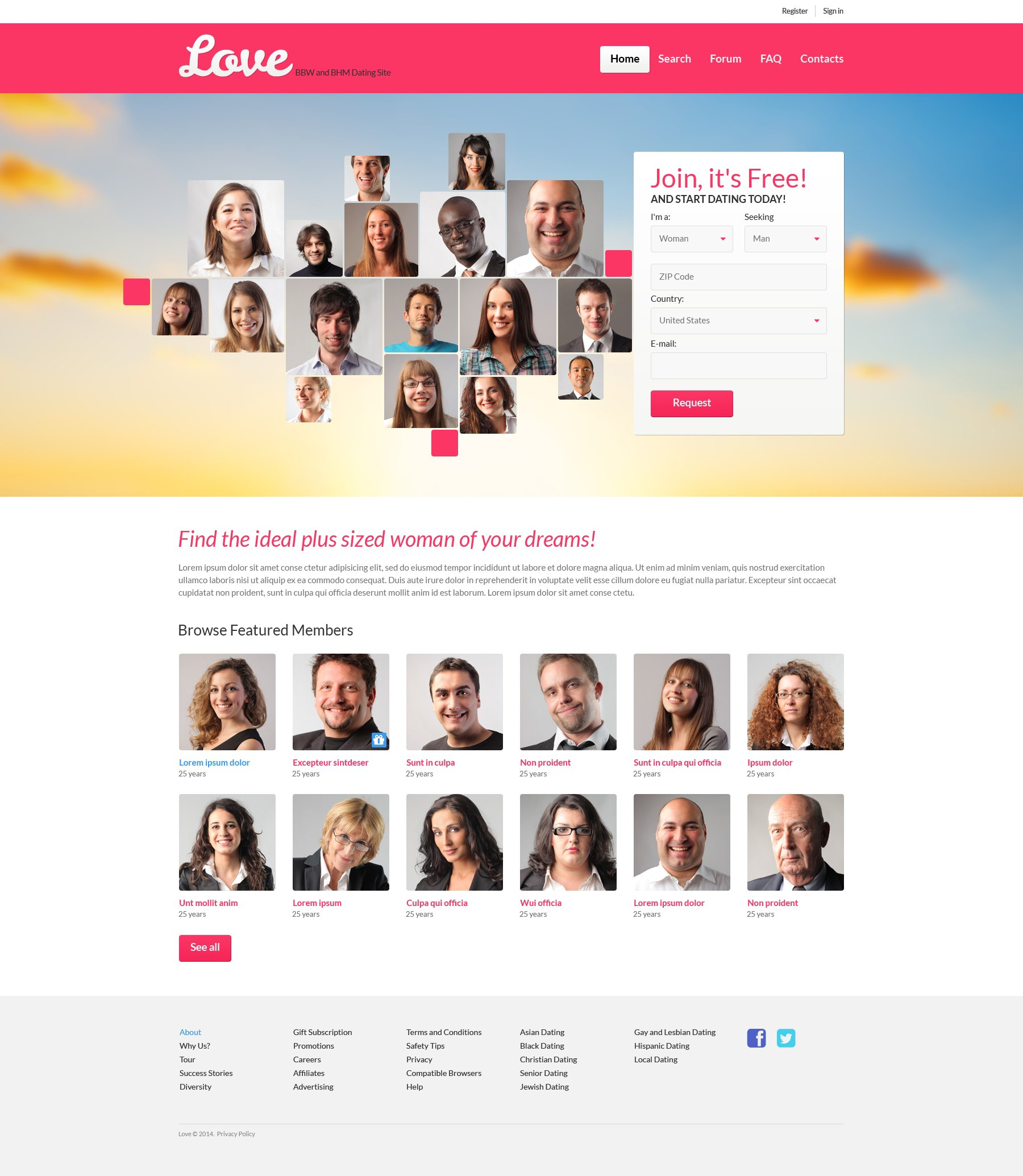 Dating landing page HTML5 Dating Mr Mogul
