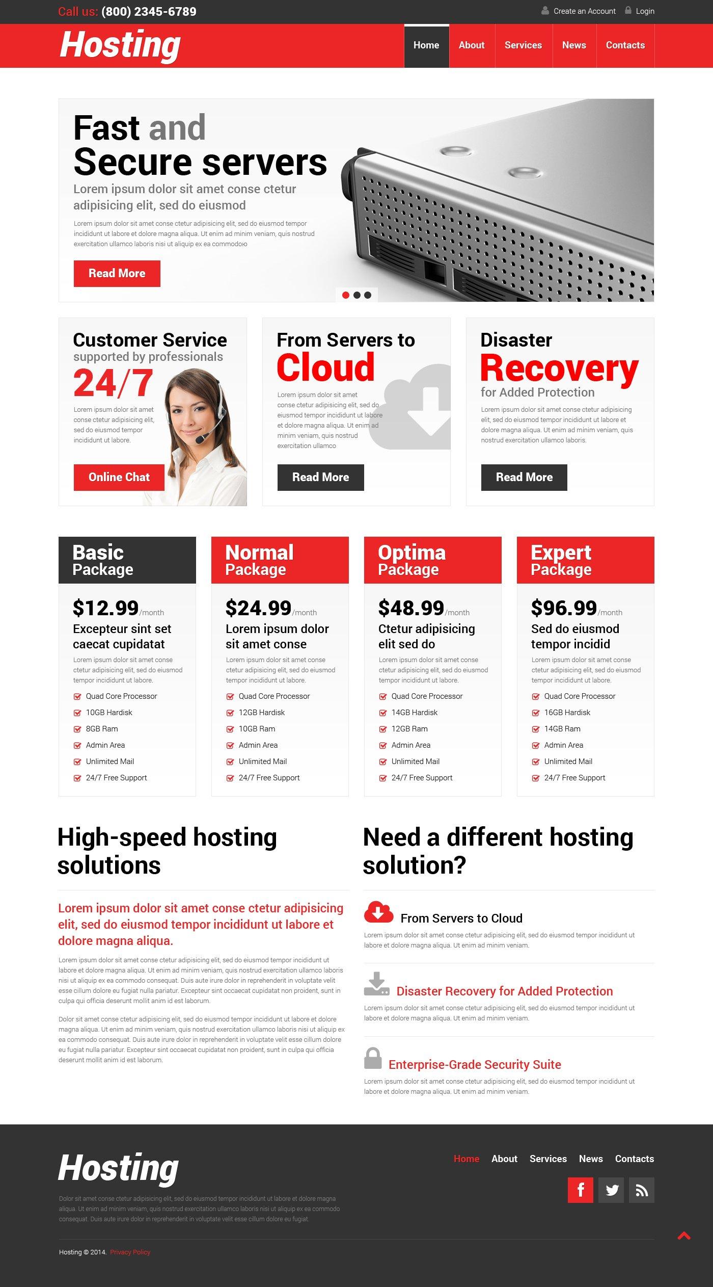Адаптивний WordPress шаблон на тему хостинг №50999 - скріншот