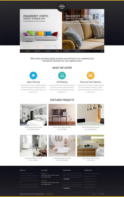 Адаптивный Joomla шаблон №50901 на тему дизайн интерьеров #50901