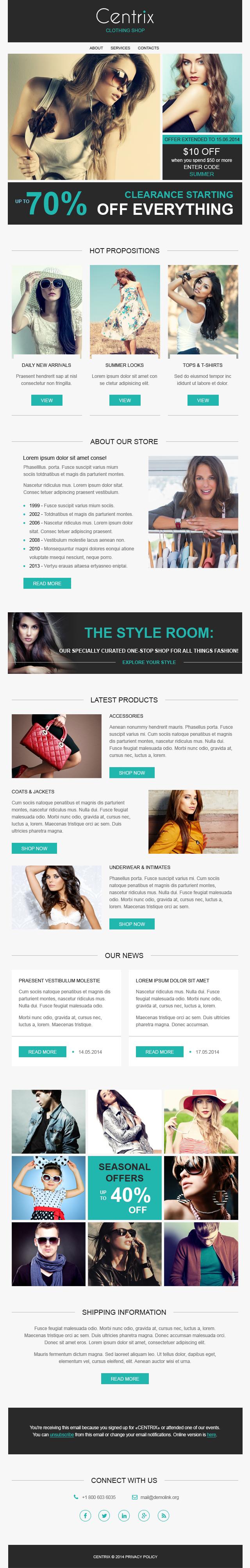 Адаптивный Шаблон рассылки №50929 на тему модный магазин
