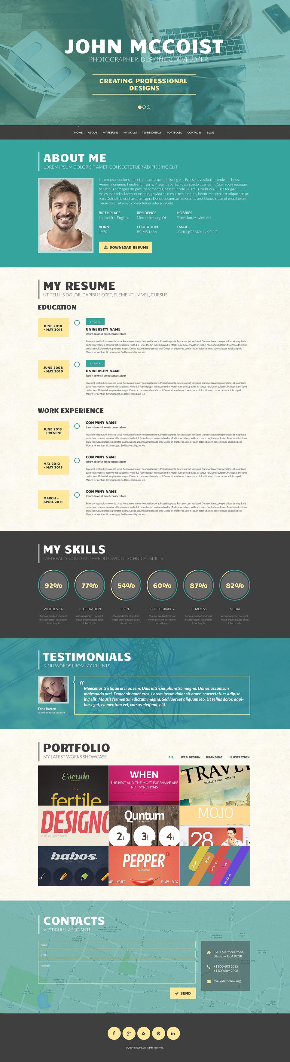 Адаптивный шаблон сайта на тему портфолио дизайнера #50910