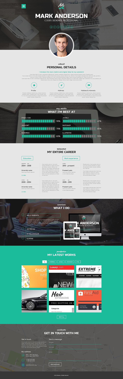 Адаптивный шаблон сайта на тему портфолио дизайнера #50917