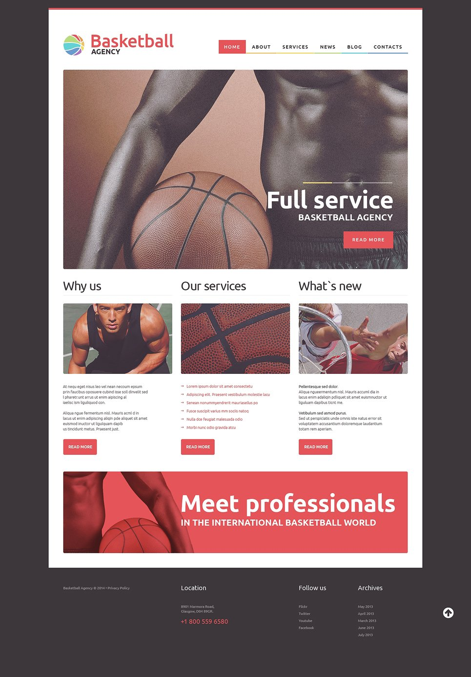 Адаптивный шаблон сайта на тему баскетбол #50924