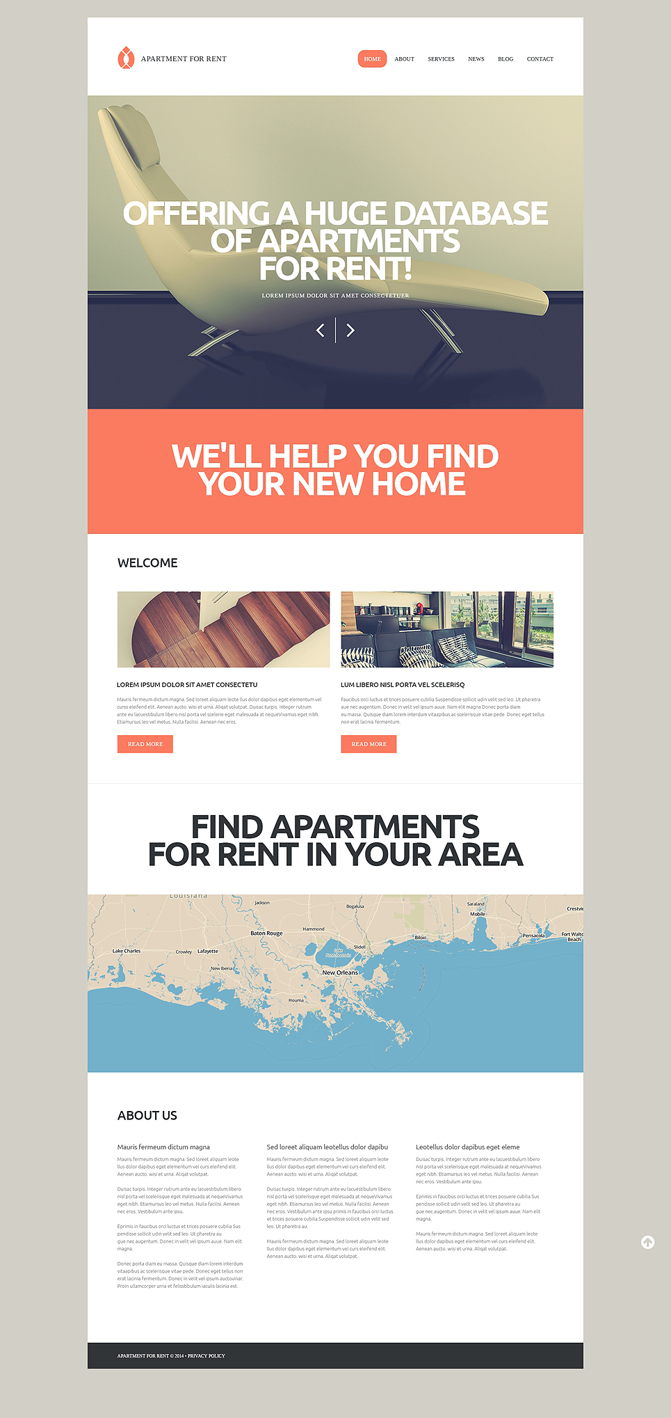 Адаптивный шаблон сайта на тему агентство недвижимости #50931