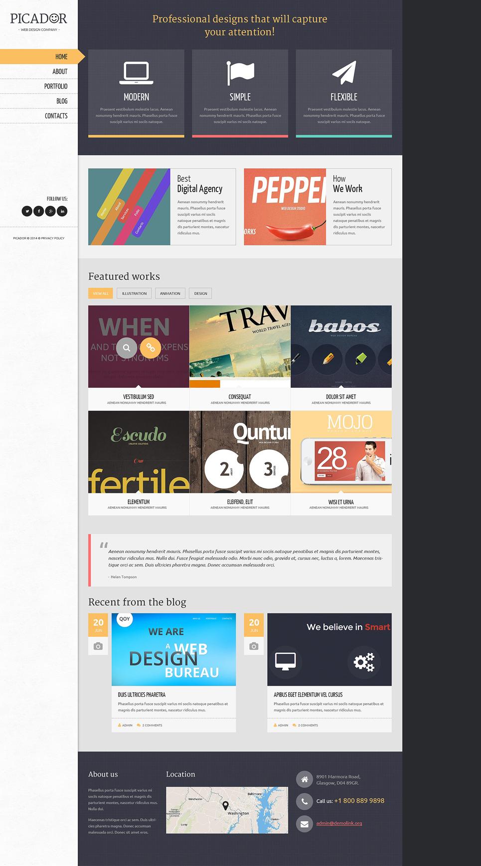 Адаптивный шаблон сайта на тему дизайн студия #50932