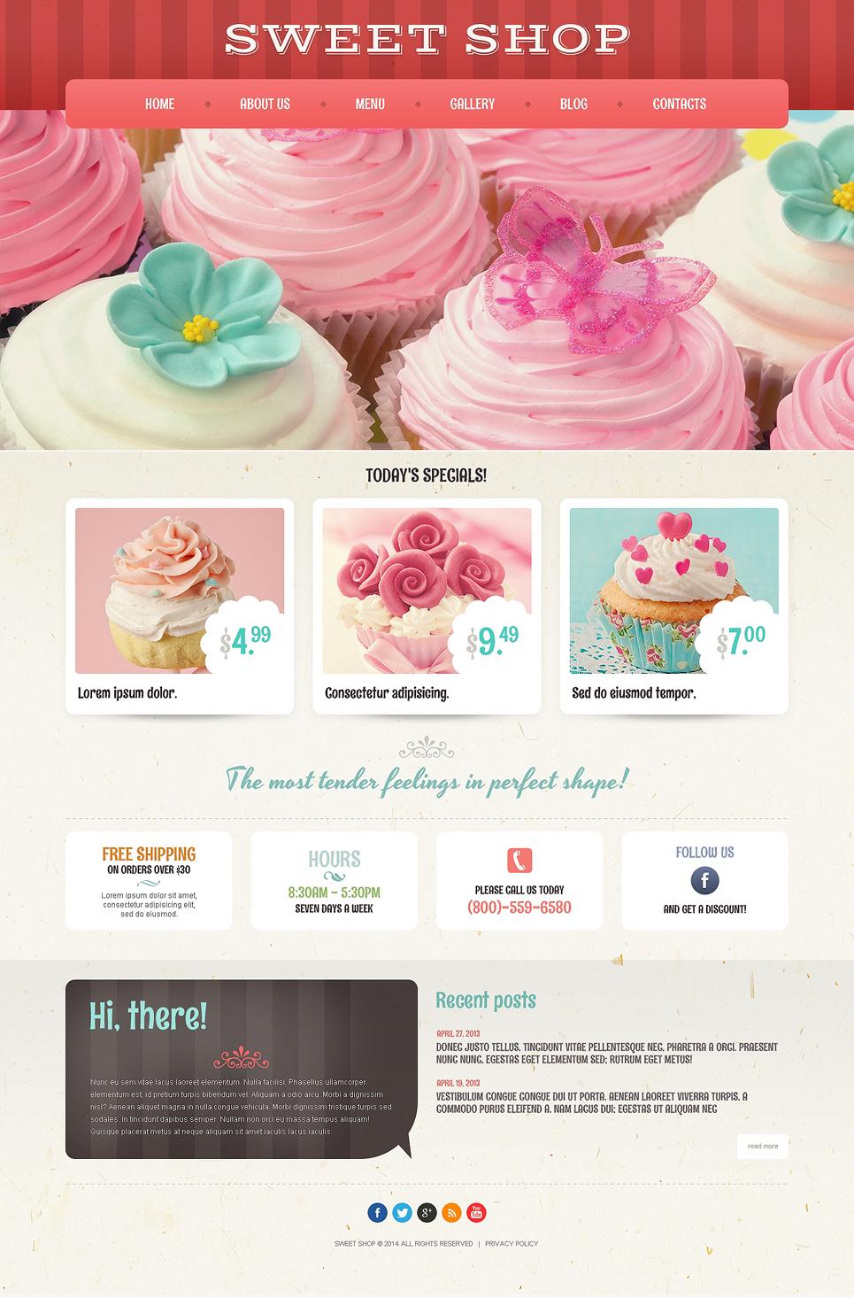 Адаптивный шаблон сайта на тему магазин сладостей #50935