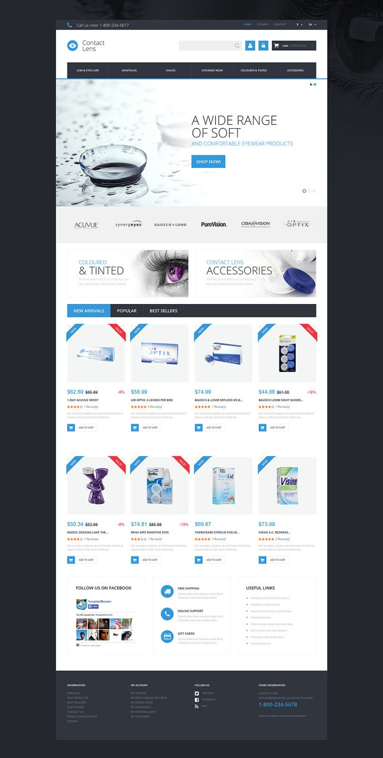Contact Lens Store PrestaShop Theme New Screenshots BIG