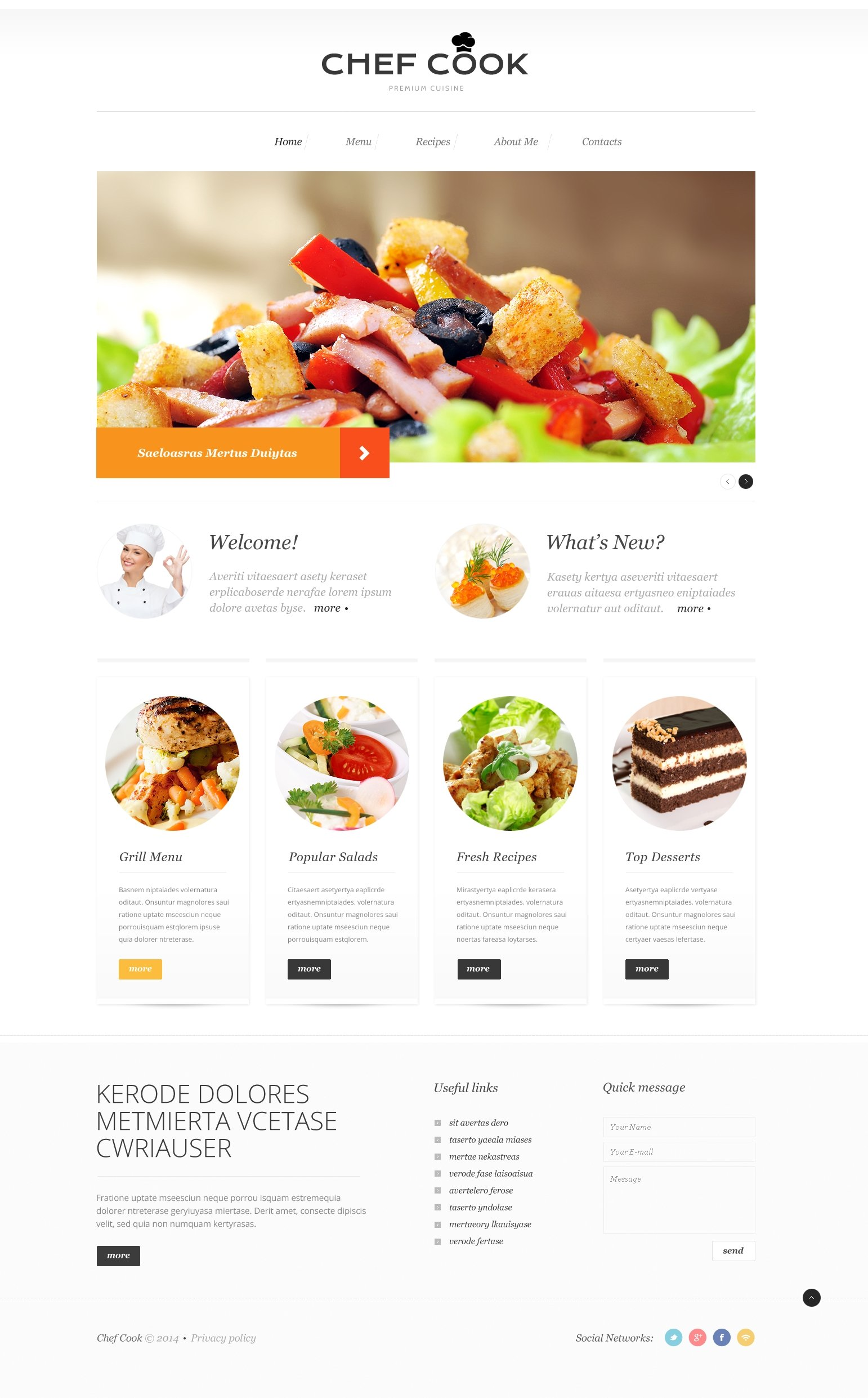 Cooking responsive website template 50904 for Site cuisine