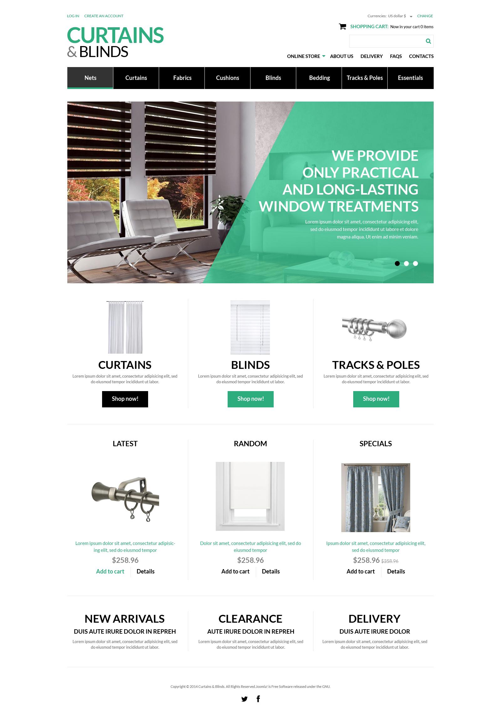 """""""Curtains  Blinds Salon"""" VirtueMart Template №50916 - screenshot"""