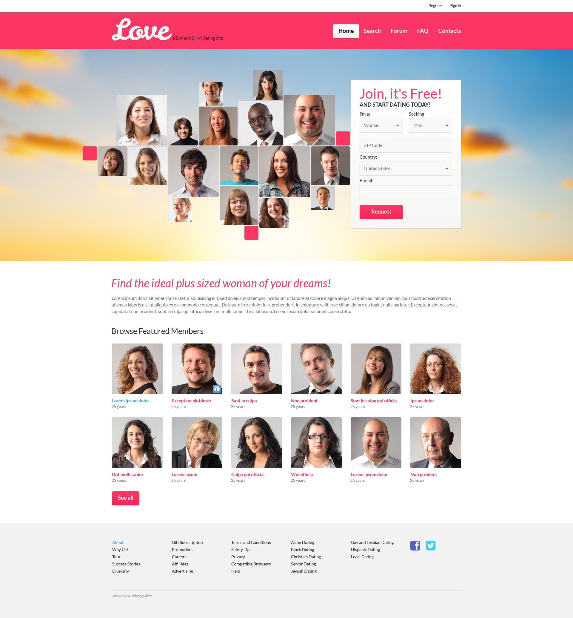 Dating Responsive Website Template - screenshot