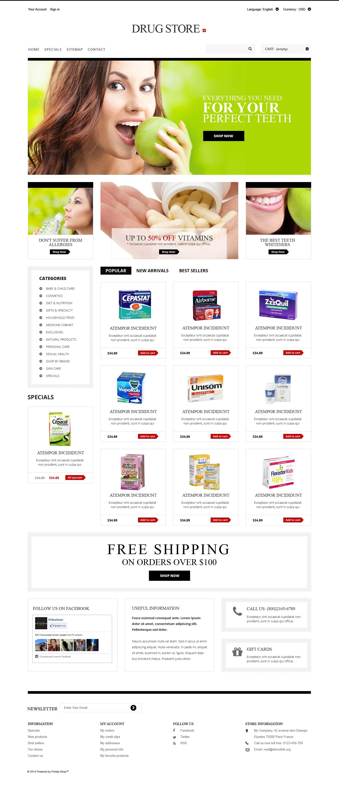 """Drug Store"" - адаптивний PrestaShop шаблон №50928"