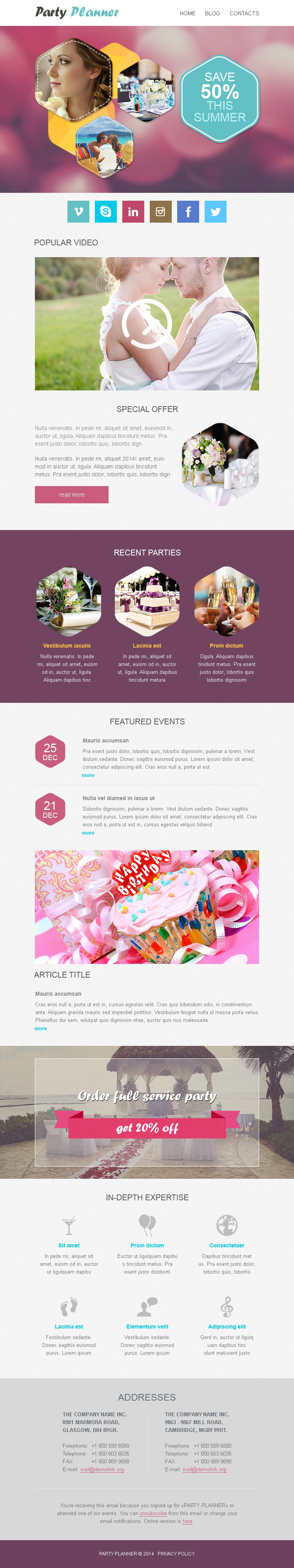event planner responsive newsletter template 50994