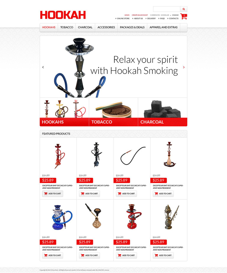 Exclusive Hookah Products VirtueMart Template New Screenshots BIG