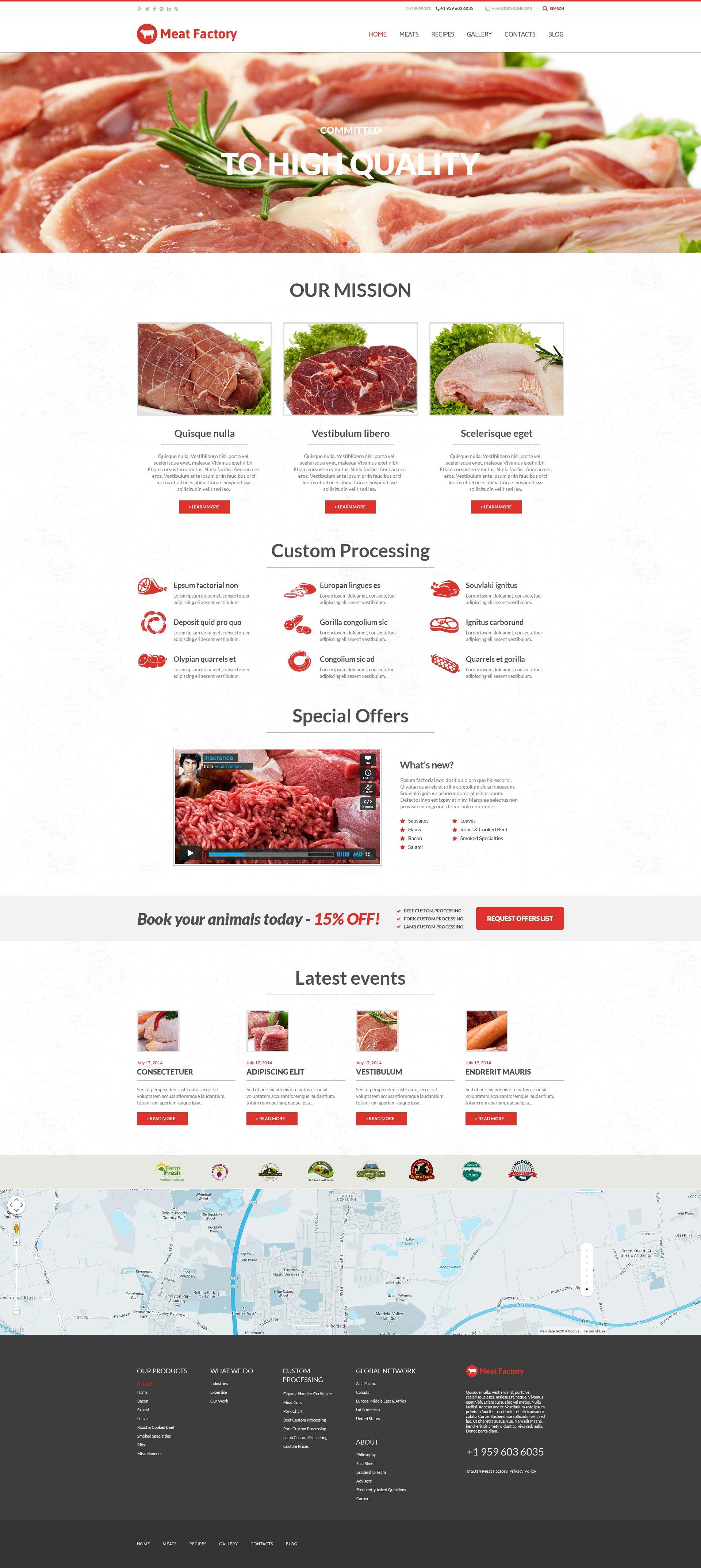 """Health Benefits of Meat"" - адаптивний WordPress шаблон №50934"