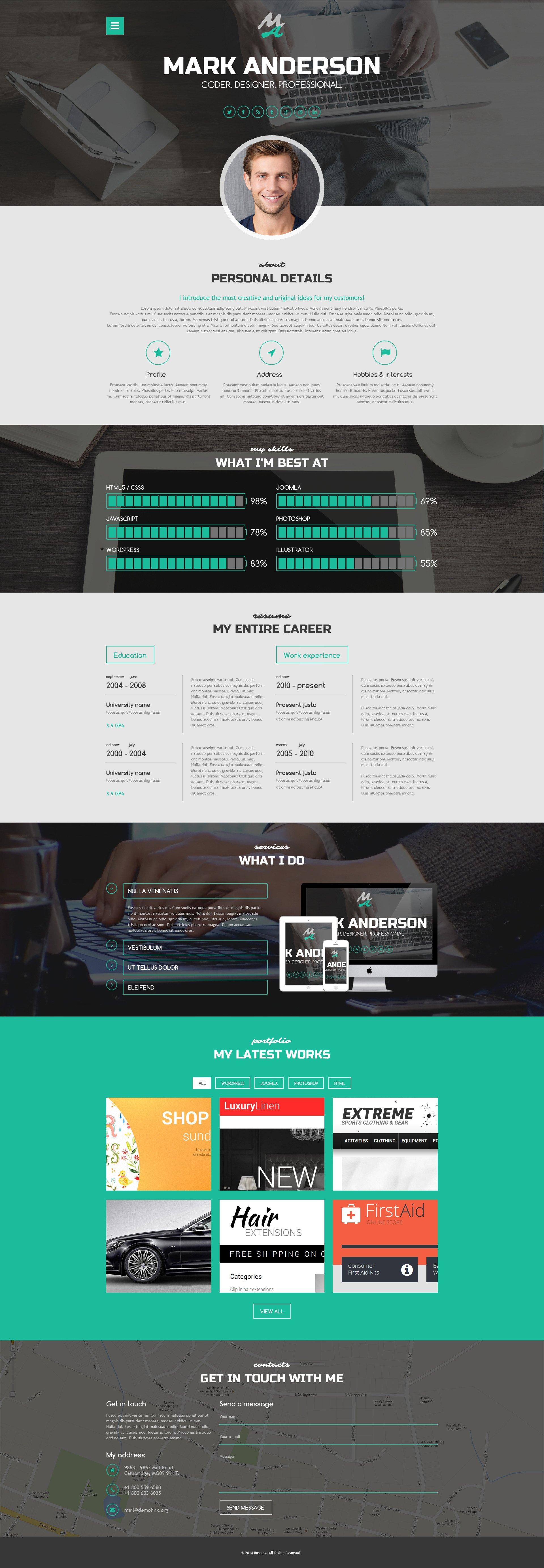 HighClass Portfolio. Parallax WordPress Template ...  Resume Wordpress Theme