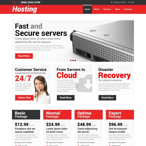 Hosting - WordPress Template based on Bootstrap