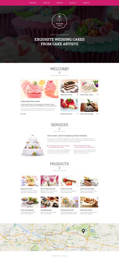 Modèle Web adaptatif  pour magasin de gâteaux de mariage