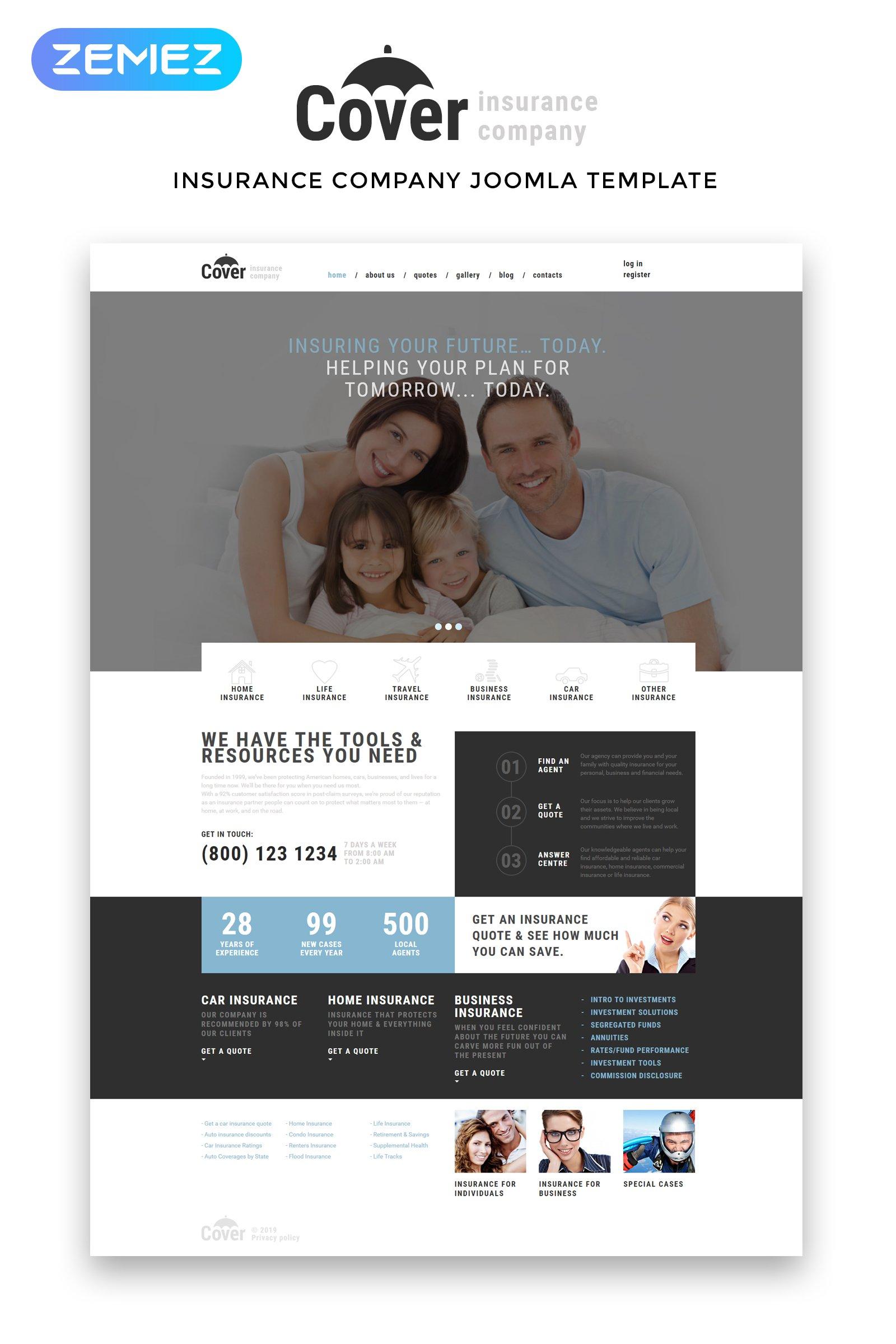 "Modello Joomla Responsive #50996 ""Cover - Insurance Company Multipage"" - screenshot"