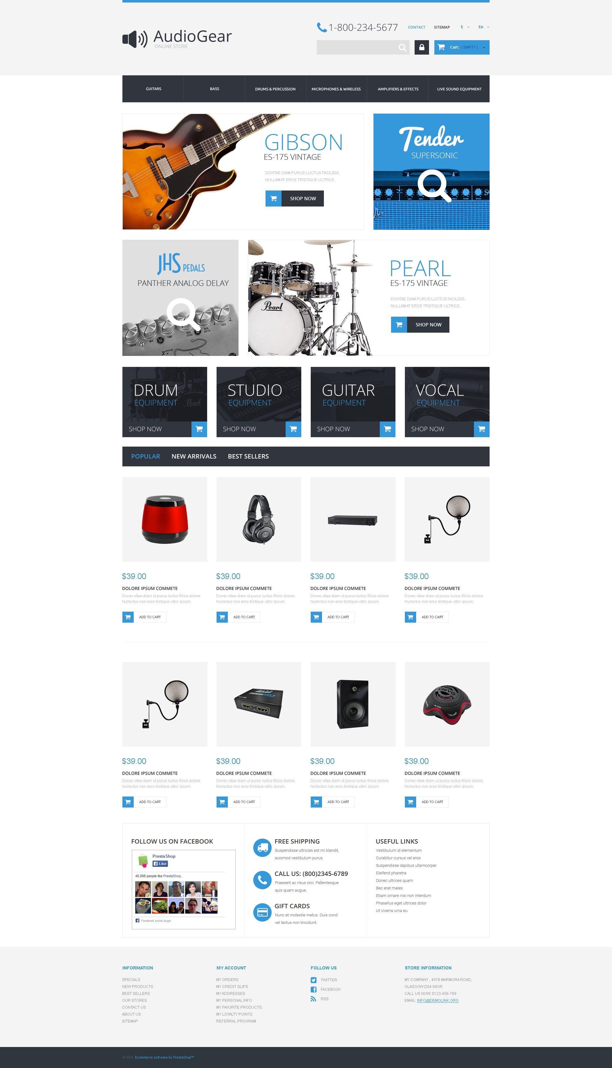 """Music Equipment"" - адаптивний PrestaShop шаблон №50987"