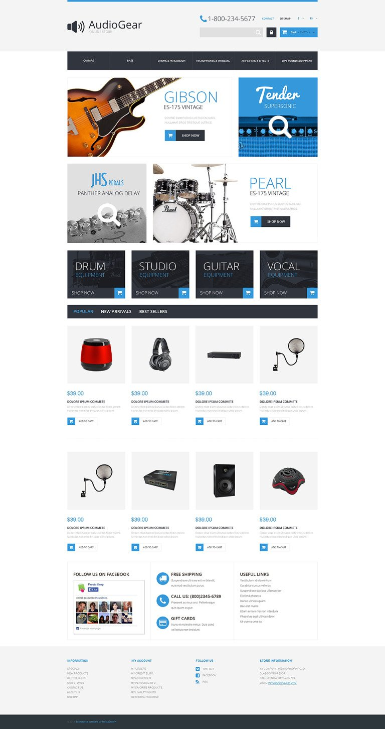 Music Equipment PrestaShop Theme New Screenshots BIG