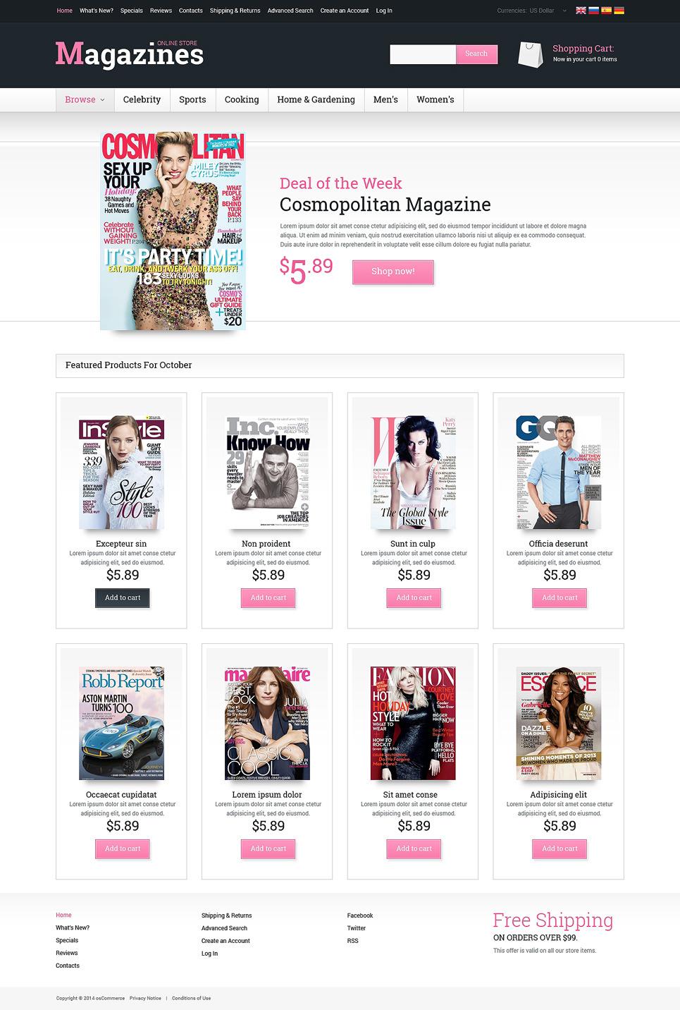 News Portal OsCommerce Template New Screenshots BIG