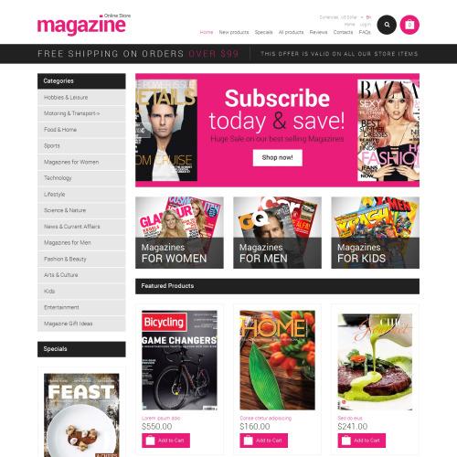 Magazine Online Store - HTML5 ZenCart Template