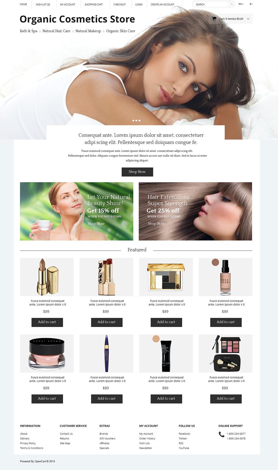 Organic Cosmetics Store OpenCart Template New Screenshots BIG