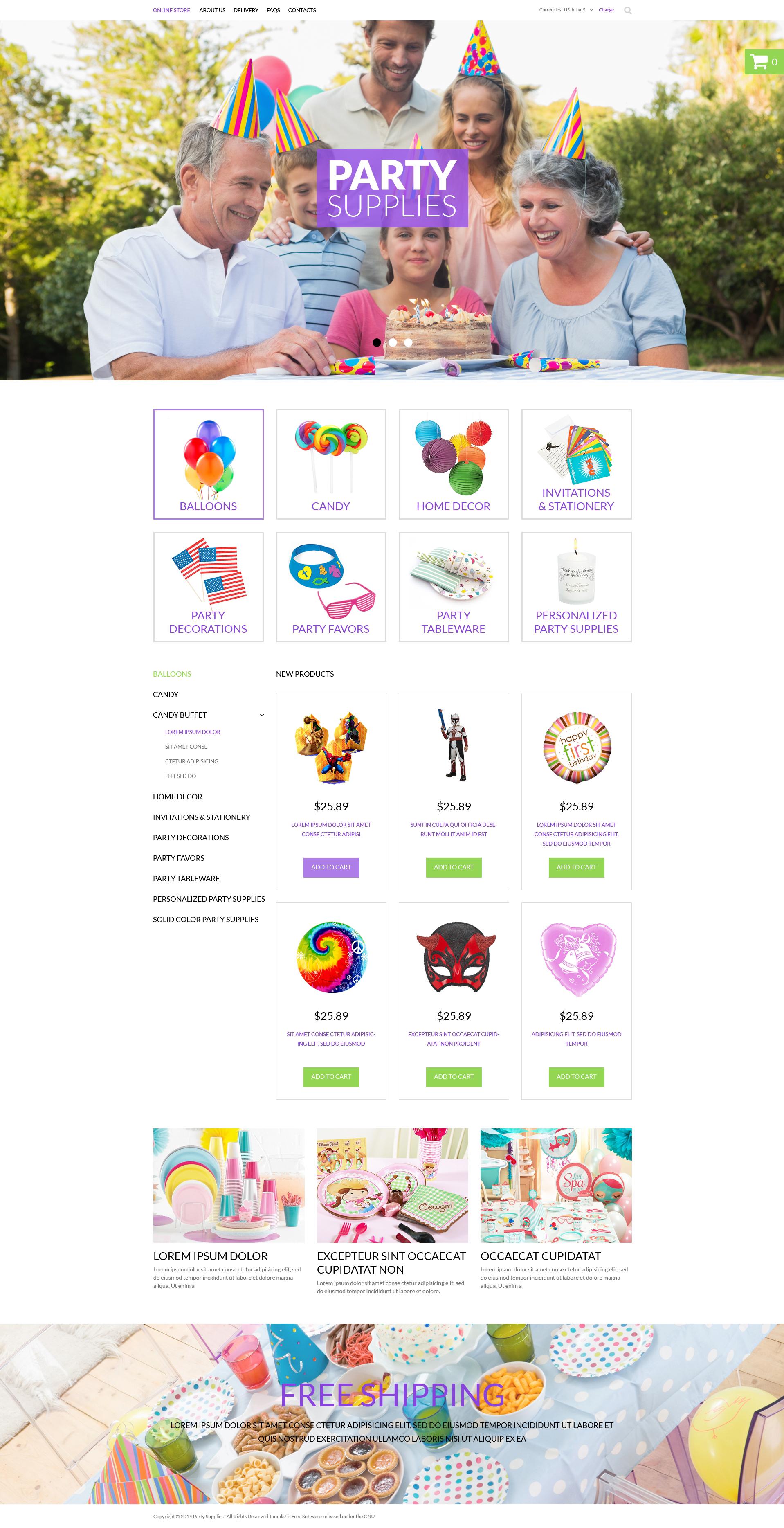 """Party Items"" - VirtueMart шаблон №50965"