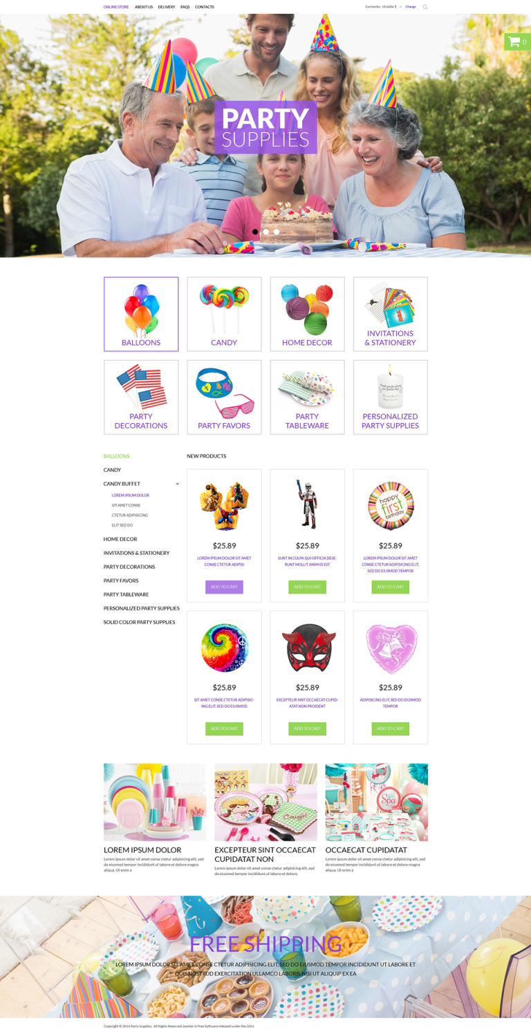 Party Items VirtueMart Template New Screenshots BIG