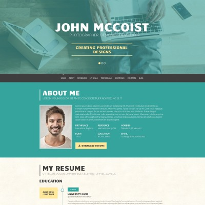 Resume Templates - 1 Page Responsive WordPress Resume Themes