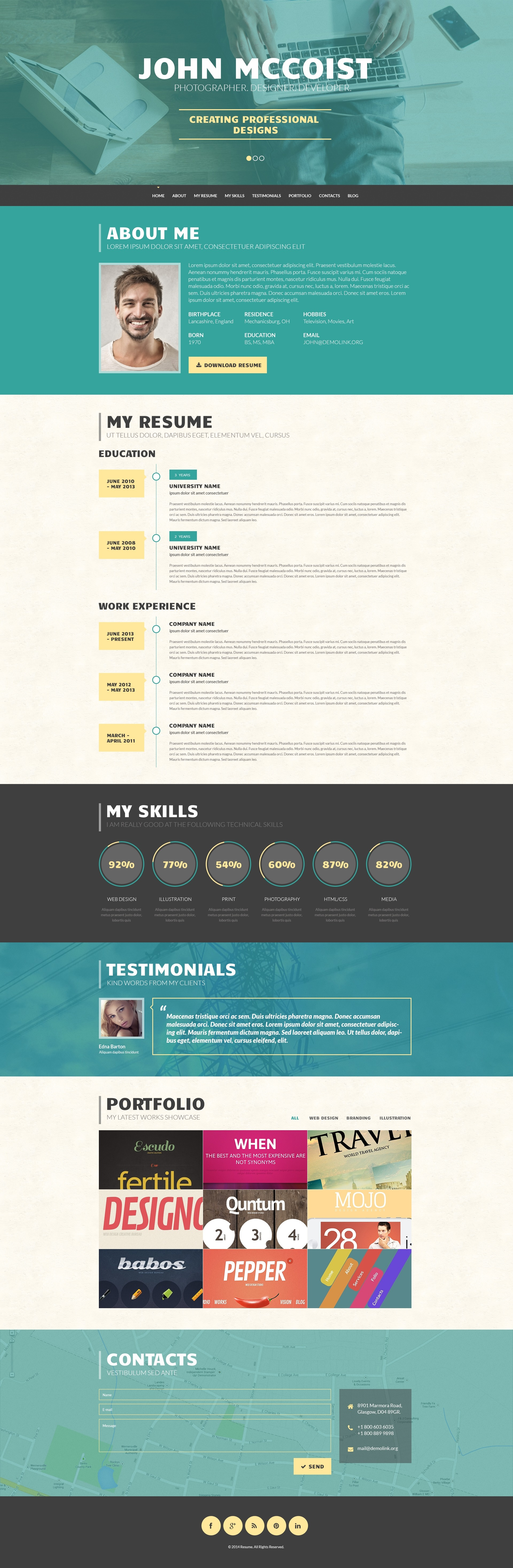Persuasive Web Portfolio  Wordpress Resume Template