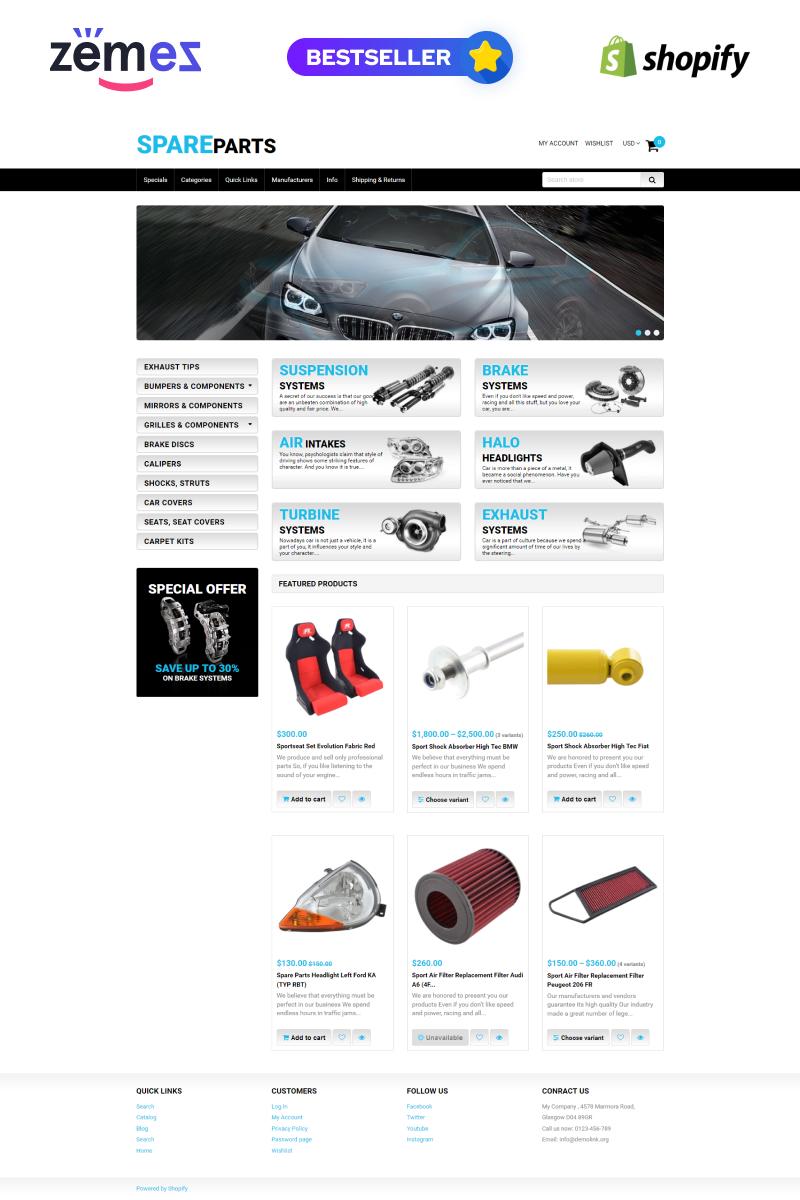 """""""Pièces de rechange"""" thème Shopify adaptatif #50966"""