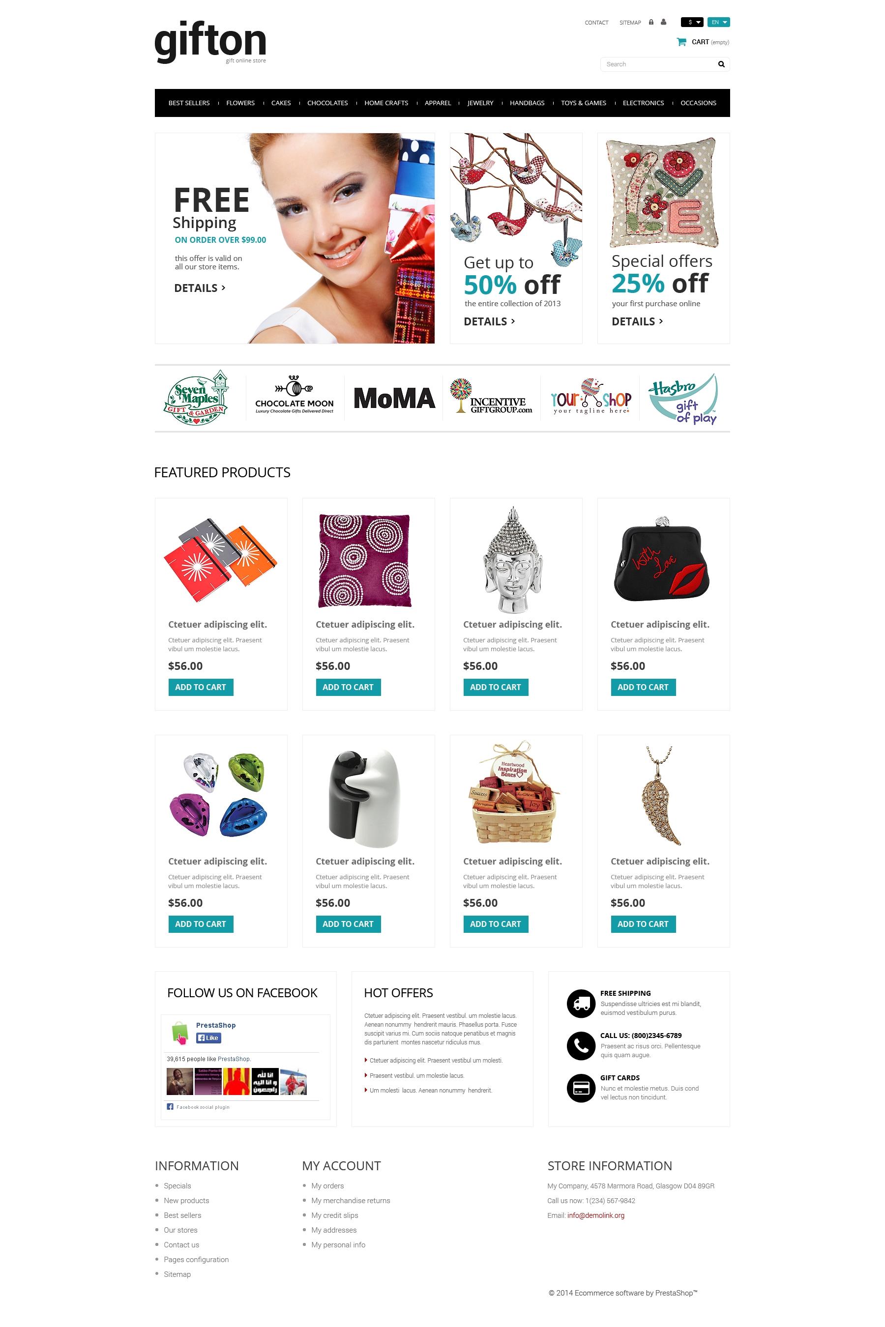 Responsywny szablon PrestaShop Sklep z prezentami #50942