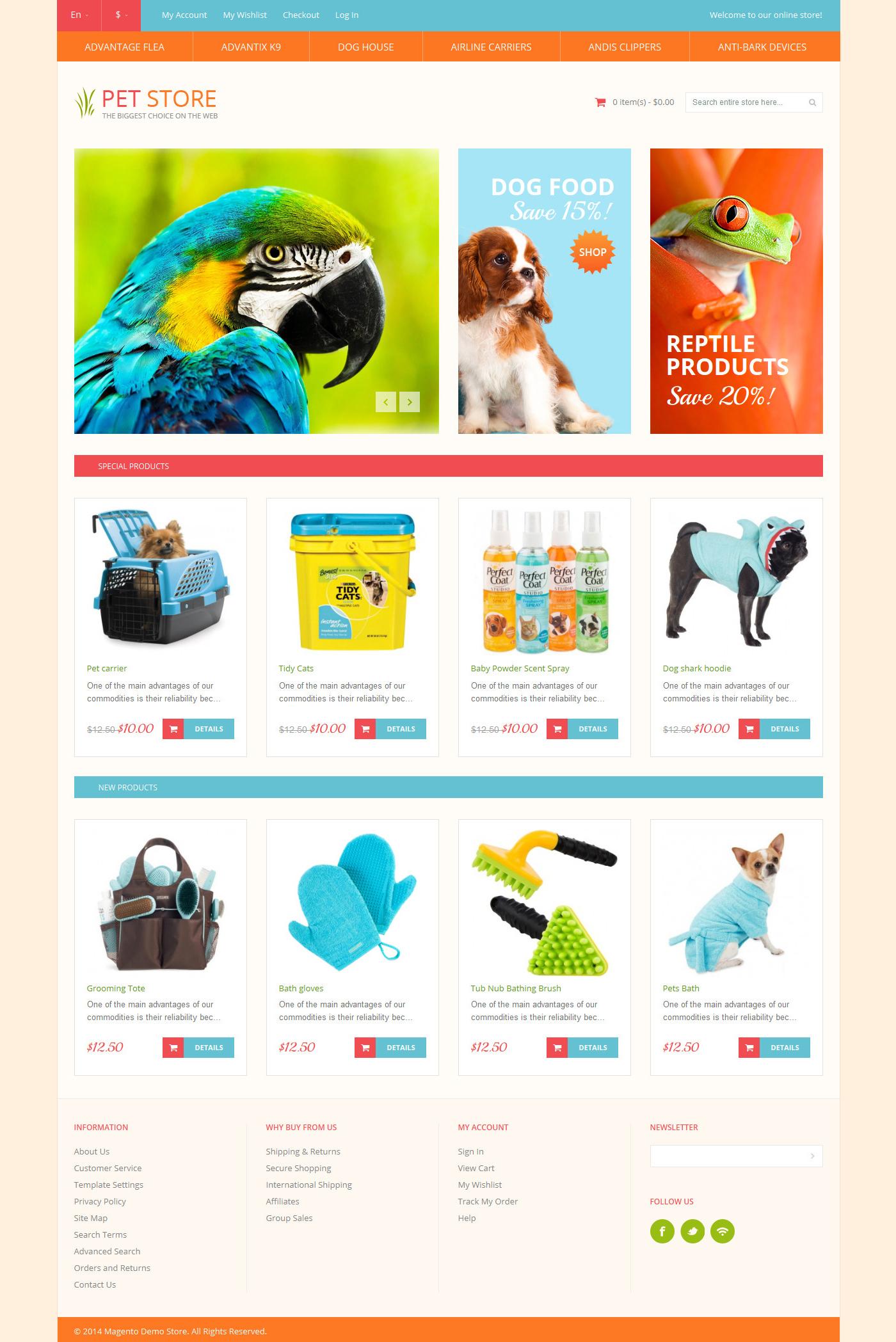 Reszponzív Állatkereskedés témakörű Magento sablon 50900