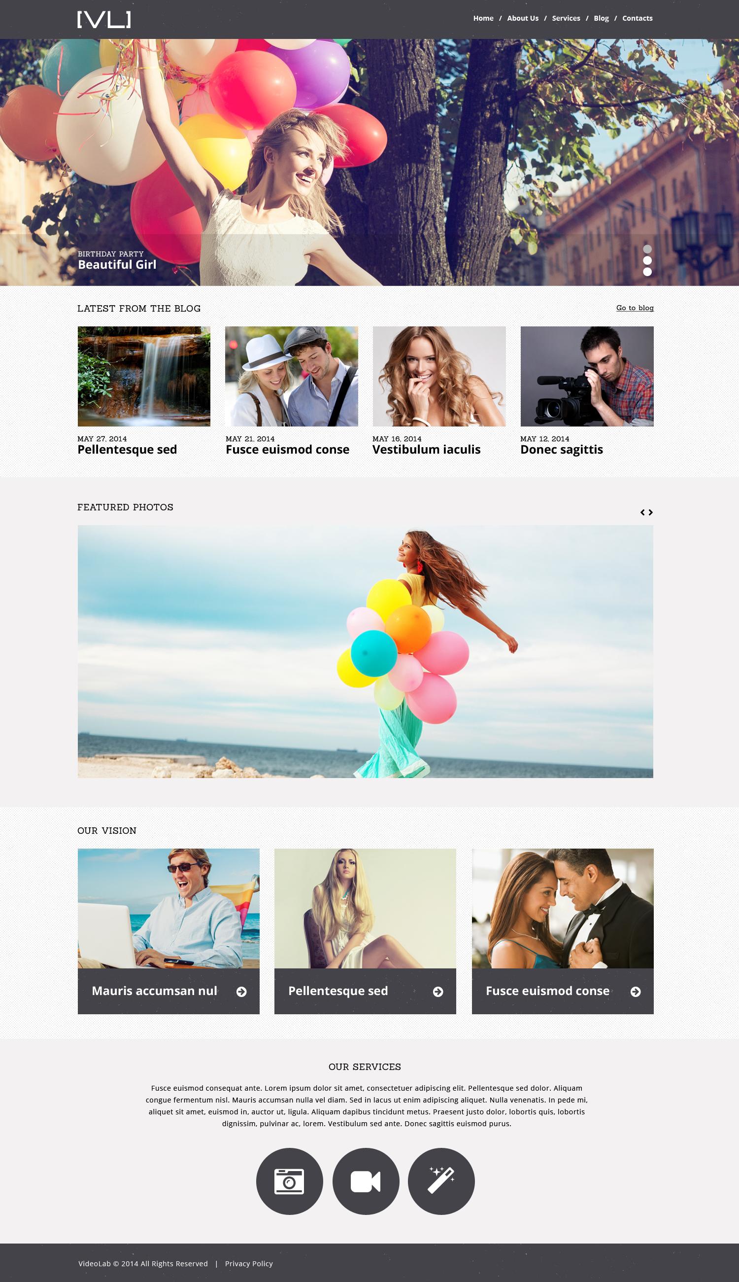 Reszponzív Happy Moments Videography WordPress sablon 50989 - képernyőkép
