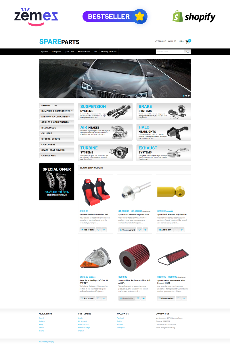 Reszponzív Spare Parts Shopify sablon 50966 - képernyőkép