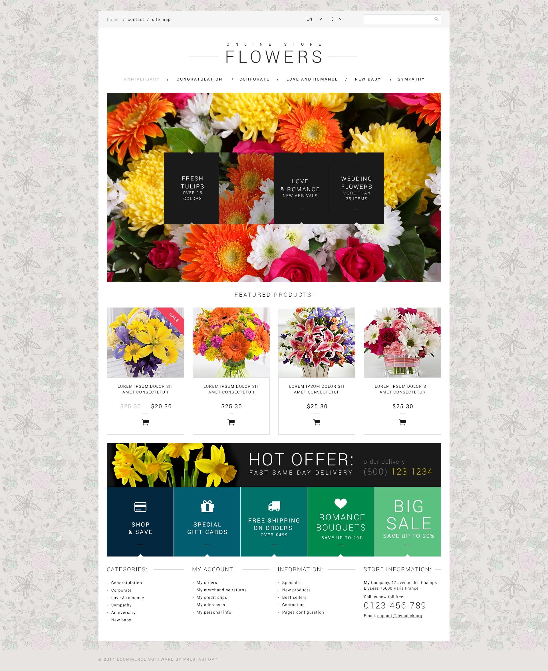 Šablona webových stránek Květinářství #50971