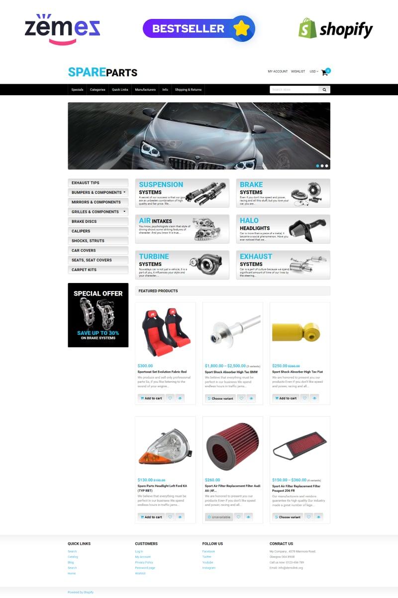 Spare Parts Tema de Shopify №50966 - captura de tela