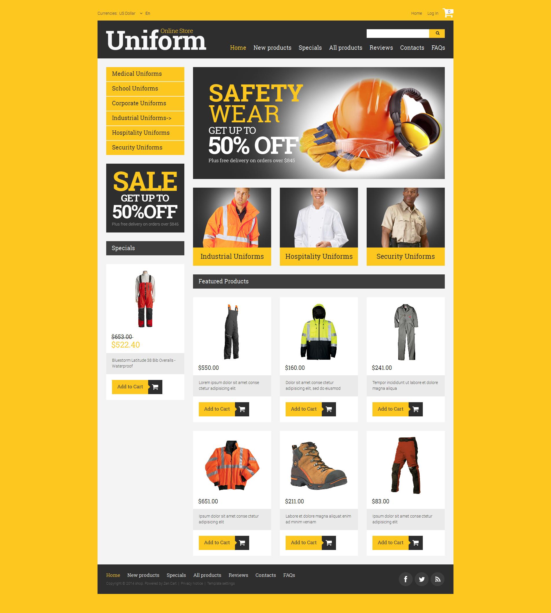 Thème Zen Cart pour site de pompiers #50906 - screenshot