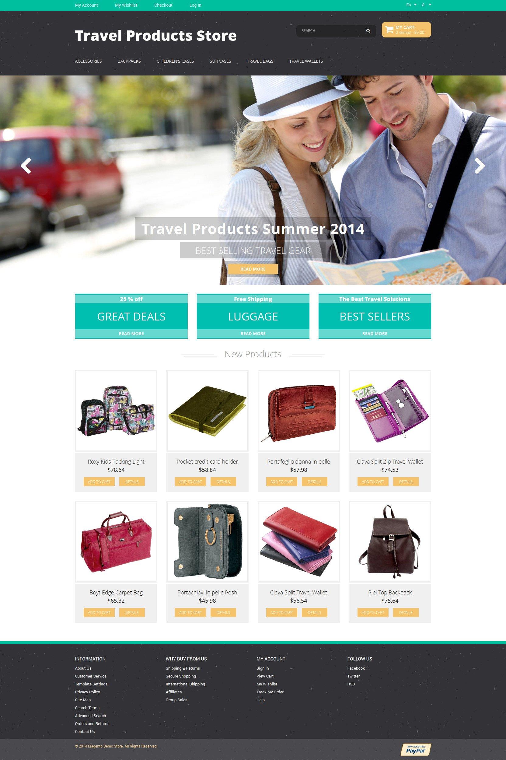 Travel Products Magento Theme - screenshot