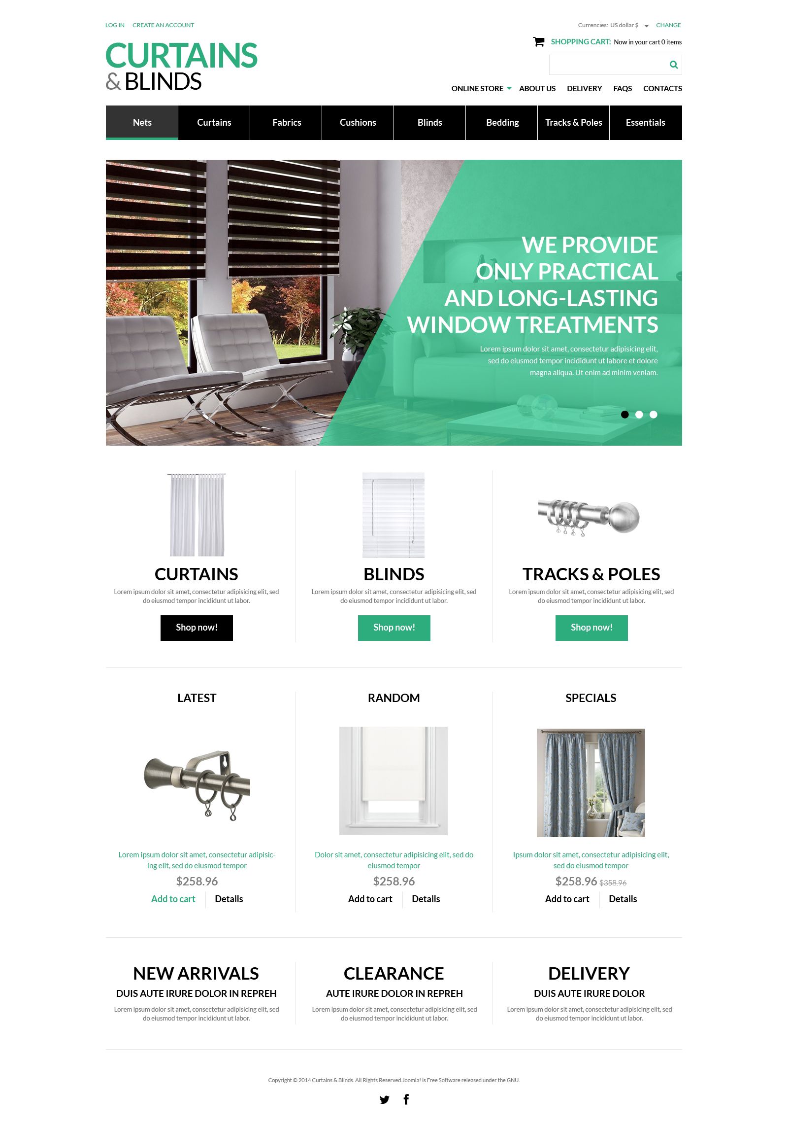 "VirtueMart šablona ""Curtains  Blinds Salon"" #50916"